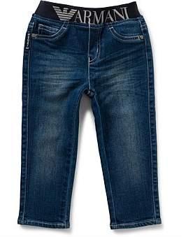 Armani Junior Boys Logo Trim Pull On Jeans