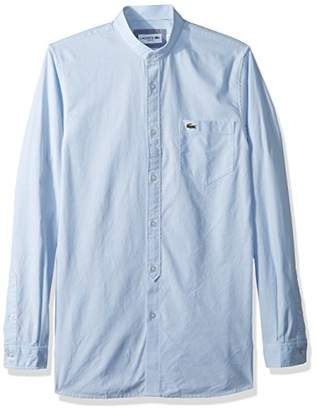 Lacoste Men's Long Sleeve Chambray Mandarin Collar Slim Woven Shirt