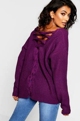 boohoo Lace Up Back Knitted Jumper