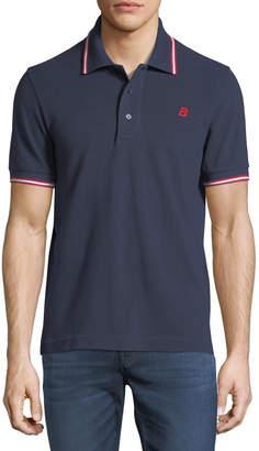 Bally Striped Cotton Pique Polo Shirt Navy