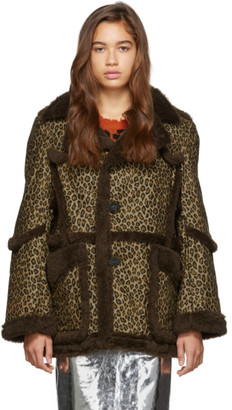 R 13 Brown and Tan Imitation Sheepskin Coat