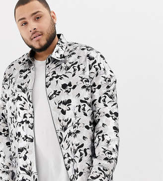 Asos EDITION Plus silver and black floral jacquard overshirt