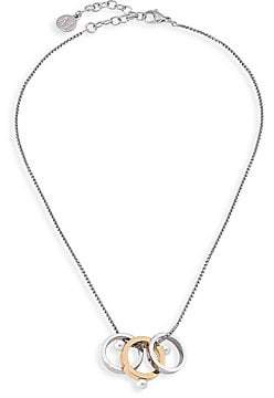 Majorica Women's Circle White Round Faux Pearl & Stainless Steel Pendant Necklace