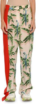 Stella McCartney Birds of Paradise Print Wide-Leg Lounge Pants w/ Solid Stripe