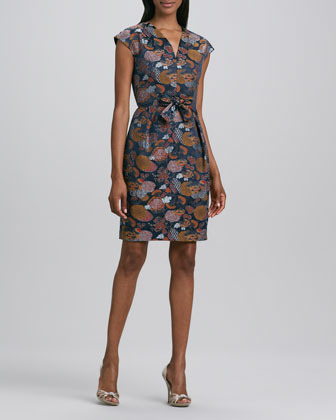 Carmen Marc Valvo Printed V-Neck Front-Tie Dress