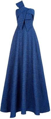 Lela Rose One Shoulder Brocade Gown