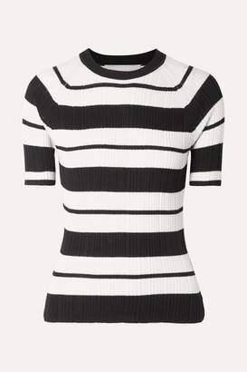 Jason Wu Ribbed Striped Silk-blend Sweater - Black