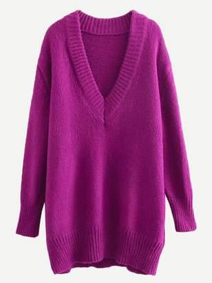 Shein Rib Trim Longline Sweater