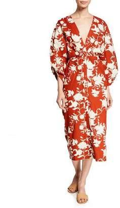 Johanna Ortiz Vine-Print Kimono Sleeve Dress