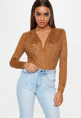 Missguided Brown Faux Suede Bodysuit