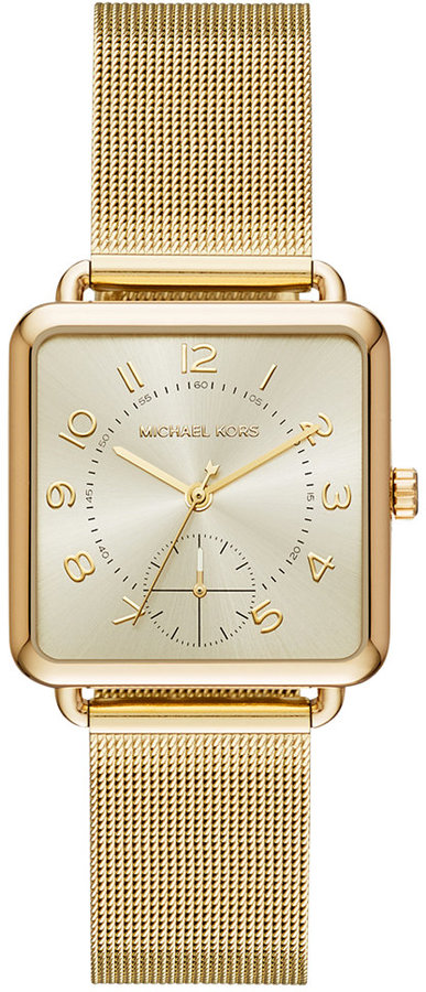 MICHAEL Michael Kors Michael Kors Women's Brenner Gold-Tone Stainless Steel Mesh Bracelet Watch 31x31mm MK3663, a Macy's Exclusive Style