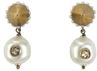 Gucci Interlocking G pearl pendant earrings