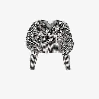 Esteban Cortazar zebra print cropped sweater
