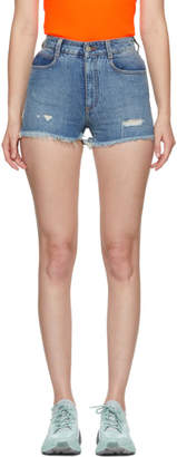 Stella McCartney Blue Denim Frayed Shorts