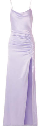 Alice + Olivia Diana Ruched Satin Maxi Dress - Lilac