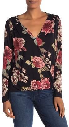 Bobeau V-Neck Floral Long Sleeve Top