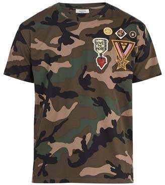 Valentino Camouflage Print Cotton T Shirt - Mens - Camouflage