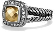 David Yurman Petite Albion Ring with Gold Dome and Diamonds $675 thestylecure.com