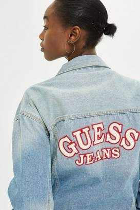 GUESS Womens Oversized Denim Logo Jacket