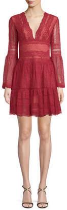 Murad Zuhair Deep-V Bell-Sleeve Lace Cocktail Dress