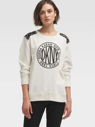 DKNY Token Logo Pullover With Lace Shoulder