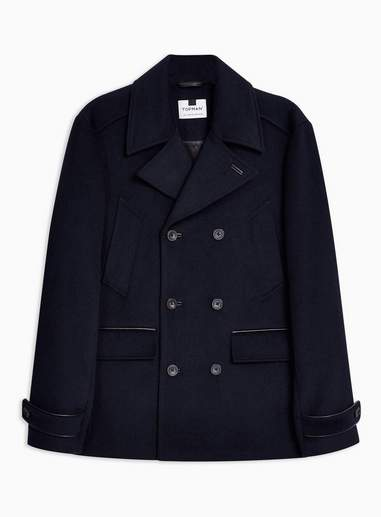 Topman Mens Navy Pea Coat With Wool