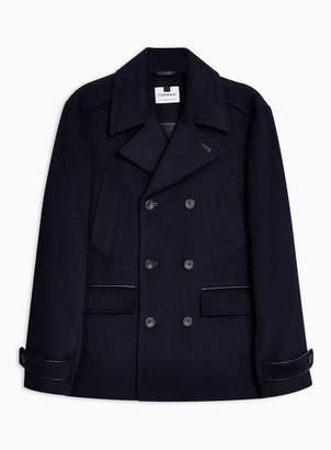Topman Mens Navy Pea Coat With Wool