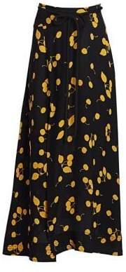 3.1 Phillip Lim Women's Cherry Print Tie-Waist Side Slit Maxi Skirt - Black Gold - Size 0