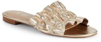 RENVY Ruffled Leather Slides