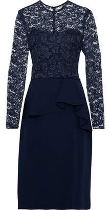 Reem Acra Corded Lace-Paneled Crepe De Chine Peplum Dress