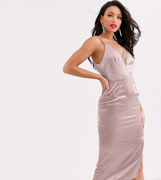 Little Mistress Tall satin cami dress with lace insert in taupe