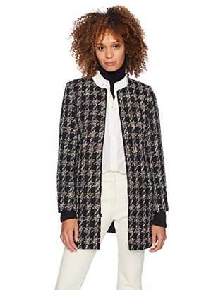 Nine West Women's Plus Size Jewel Neck Tweed Topper
