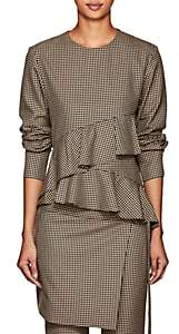 J KOO Women's Houndstooth Peplum Blouse - Brown