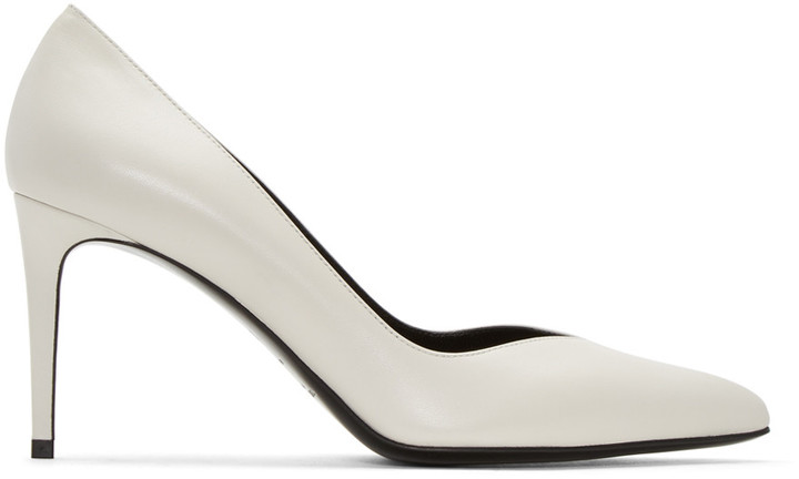 Saint Laurent White Paris Skinny Heels