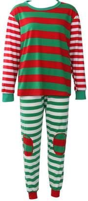Faithtur Christmas Pajamas Unisex Adult Seasonal Sets Stripes Pyjamas Sleepwear