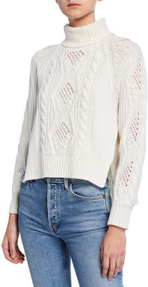 Loulou Studio Wool-Cashmere Cable-Knit Turtleneck Sweater