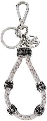 Roberto Cavalli embellished leather key chain