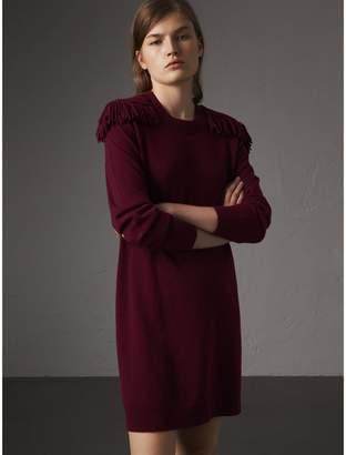 Burberry Epaulette Detail Wool Cashmere Dress