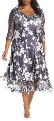 7d6054db1a6c3 Komarov Sheer Sleeve Floral Print Charmeuse A-Line Dress