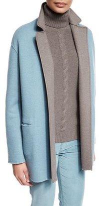 Loro Piana Jimi Open-Front Reversible Coat, Pearl Blue/Silver Myrtle $6,125 thestylecure.com