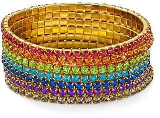 Aqua Multicolor Layered Stretch Bracelets - 100% Exclusive