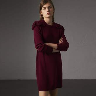 Burberry Epaulette Detail Wool Cashmere Dress