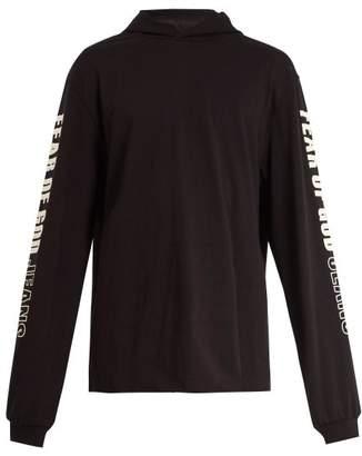 Fear Of God Logo Printed Hooded Cotton Sweatshirt - Mens - Black