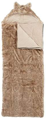 Pottery Barn Teen Hooded Baby Leopard Fur Sleeping Bag, Baby Leopard