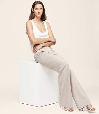 Reiss ORDER BY MIDNIGHT DEC 15TH FOR CHRISTMAS DELIVERY LEYA WIDE LEG TROUSERS Husk