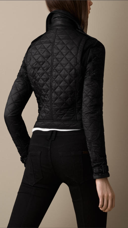 Burberry Quilted Leather Detail Biker Jacket