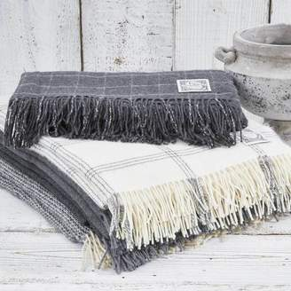 Tolly McRae Cashmere And Alpaca Throw Collection Grey And Off White