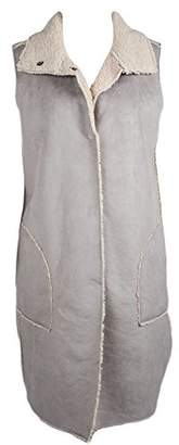 True Grit Dylan by Women's Velvet Faux Suede and Fur Reversible Long Vest with Pockets