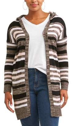 What's Next? Women's Plus Size Striped Hoodie Cardigan