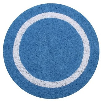 "Hotel Collection Better Trends 30"" Round Bath Rug, Blue/White"
